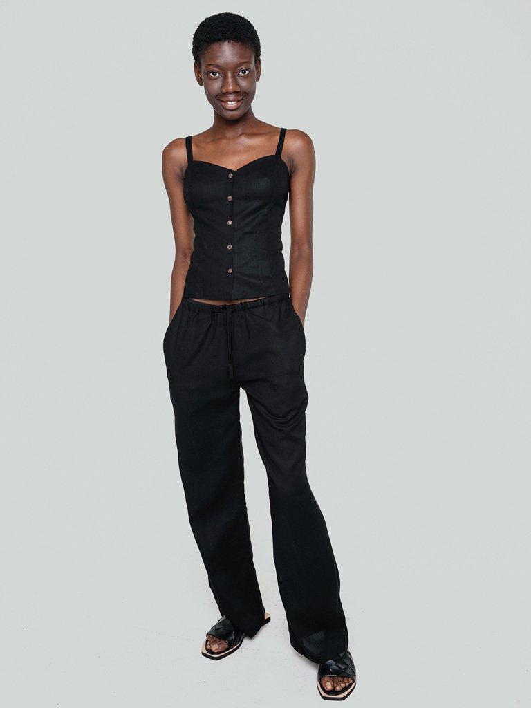 Lniane spodnie w kolorze czerni Katarina Ivanenko
