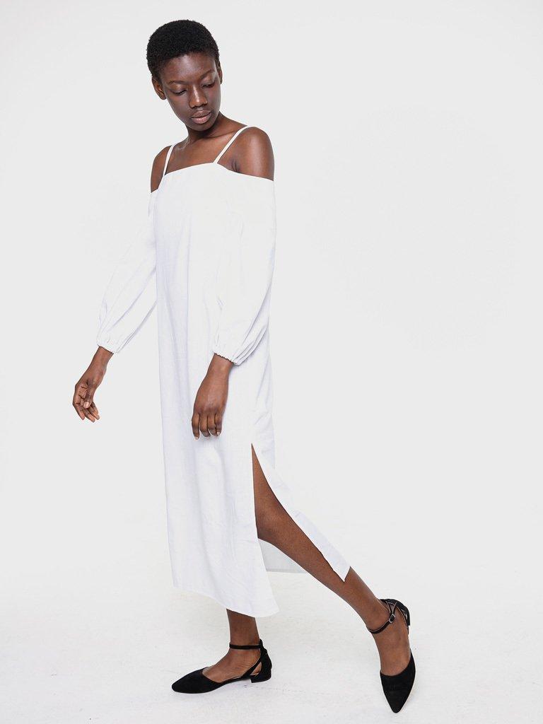 Lniana sukienka koszulowa maxi w kolorze bieli Katarina Ivanenko (zdjęcie 2)