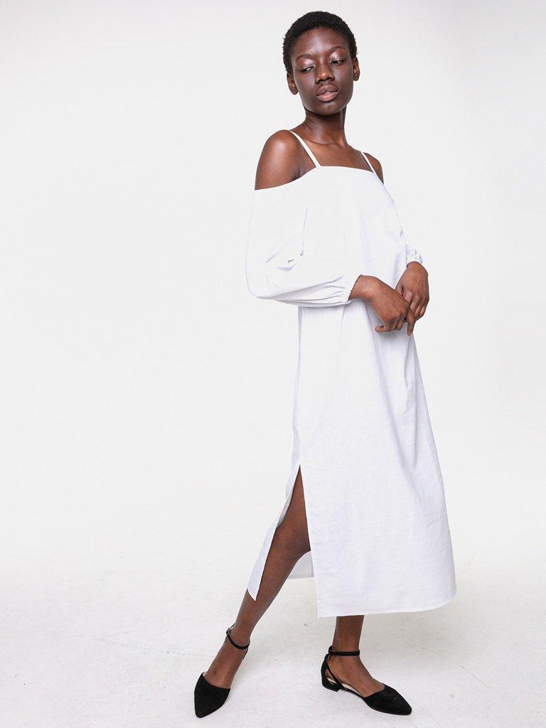 Lniana sukienka koszulowa maxi w kolorze bieli Katarina Ivanenko (zdjęcie 3)
