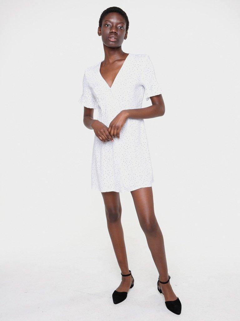 Lniana sukienka mini biała w kwiaciasty nadruk Love&Live (zdjęcie 2)