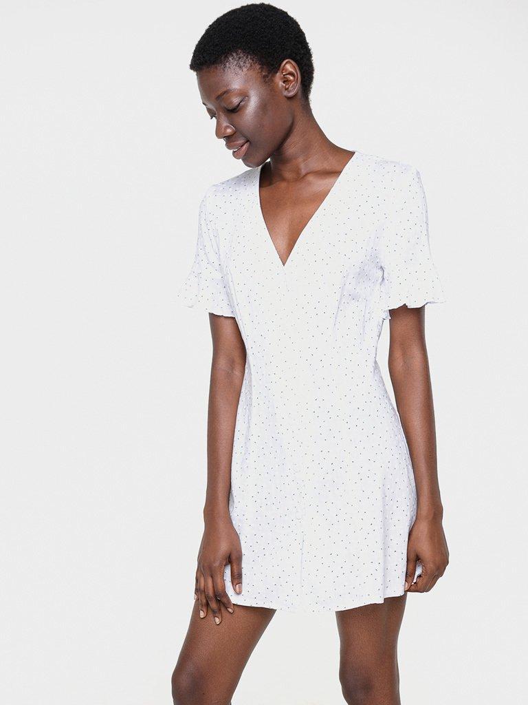 Lniana sukienka mini biała w kwiaciasty nadruk Love&Live