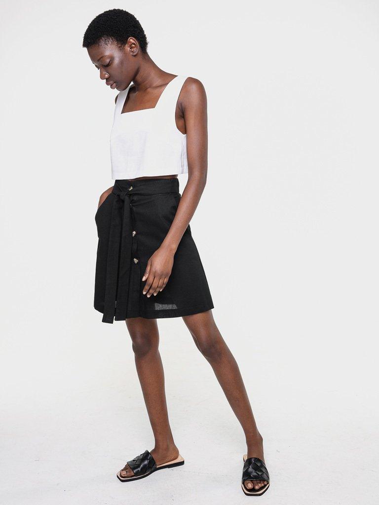Lniana spódnica mini w kolorze czerni Love&Live (zdjęcie 2)