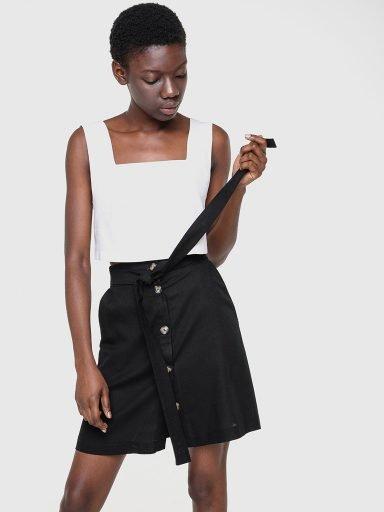 Lniana spódnica mini w kolorze czerni Love&Live