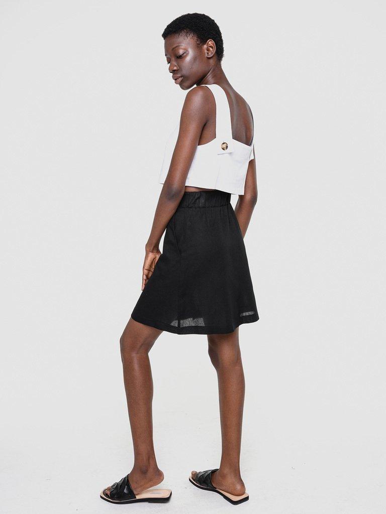 Lniana spódnica mini w kolorze czerni Love&Live (zdjęcie 3)