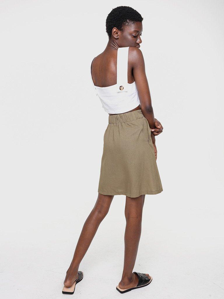 Lniana spódnica mini w kolorze khaki Love&Live (zdjęcie 3)