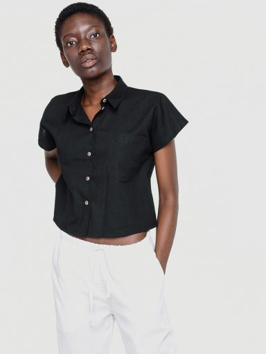 Lniana koszula w kolorze czerni Love&Live