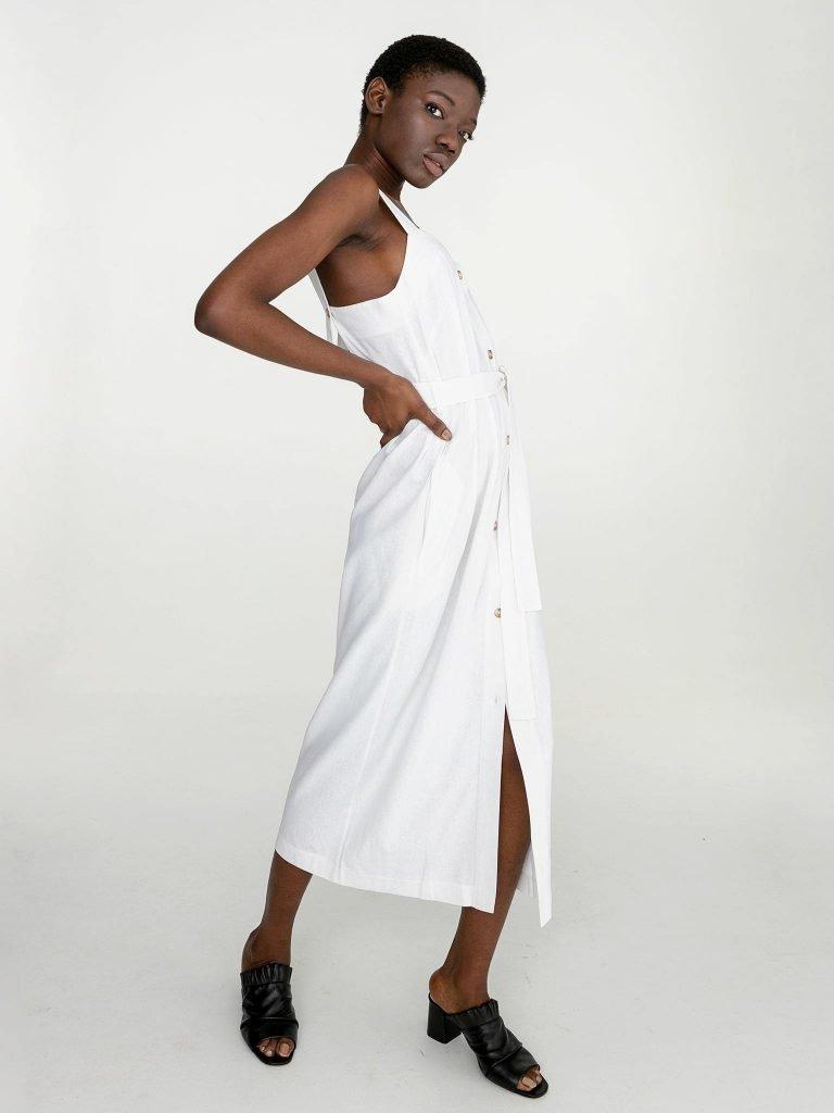 Lniana sukienka maxi w kolorze bieli Katarina Ivanenko (zdjęcie 2)