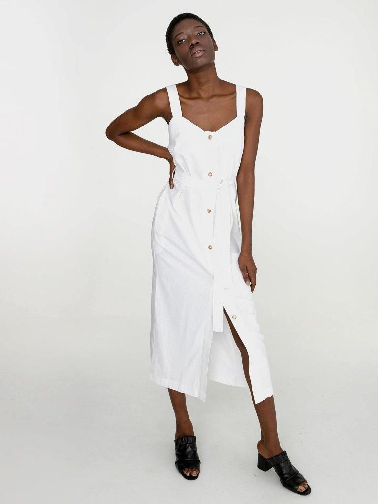 Lniana sukienka maxi w kolorze bieli Katarina Ivanenko