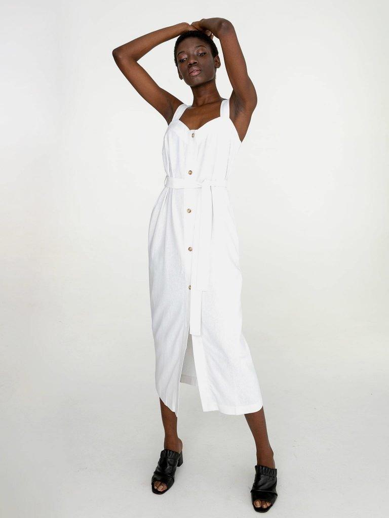 Lniana sukienka maxi w kolorze bieli Katarina Ivanenko (zdjęcie 3)