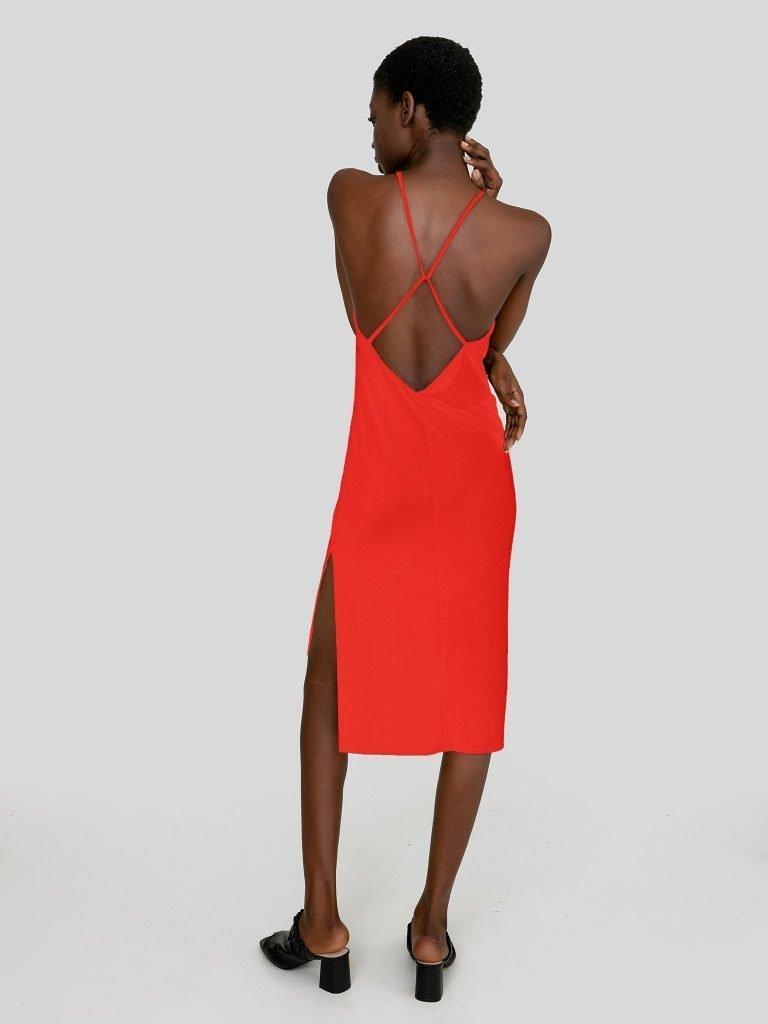 Odsłaniająca plecy sukienka maxi w kolorze koralowym Katarina Ivanenko