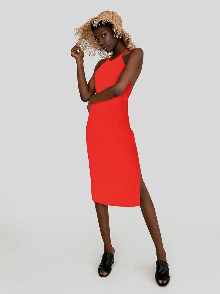 Odsłaniająca plecy sukienka maxi w kolorze koralowym Katarina Ivanenko (zdjęcie 2)