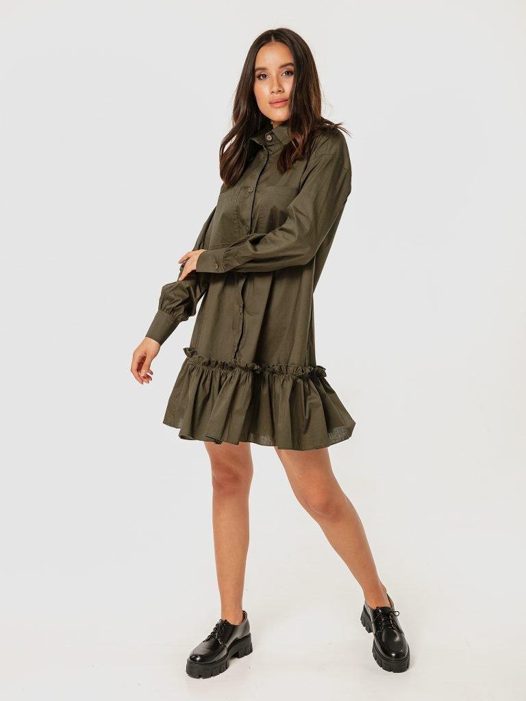Sukienka mini w kolorze khaki z wolantem Love&Live (zdjęcie 2)