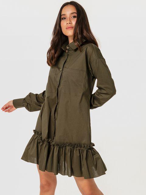 Sukienka mini w kolorze khaki z wolantem Love&Live