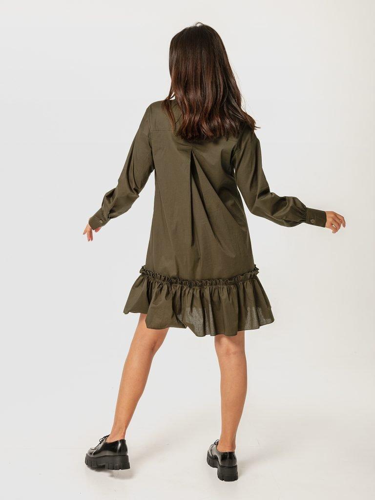 Sukienka mini w kolorze khaki z wolantem Love&Live (zdjęcie 4)