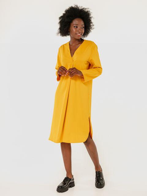 Sukienka midi żółta z imitacją zapachu Love&Live (zdjęcie 2)