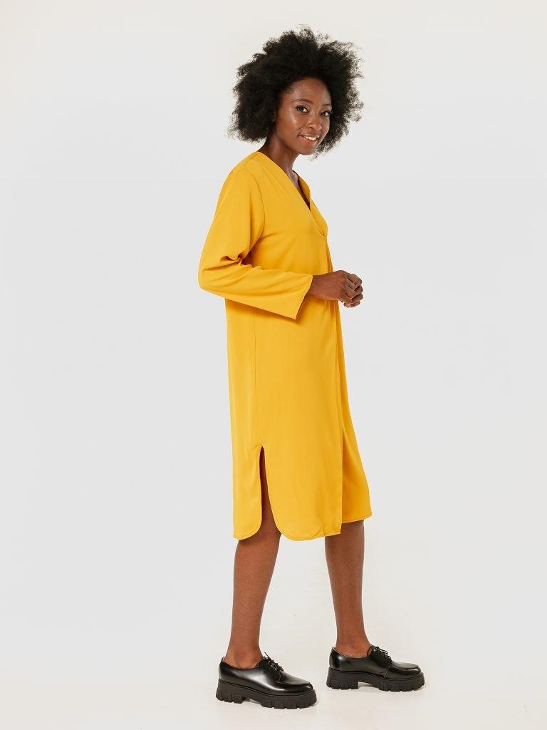 Sukienka midi żółta z imitacją zapachu Love&Live (zdjęcie 3)