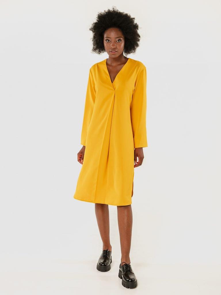 Sukienka midi żółta z imitacją zapachu Love&Live