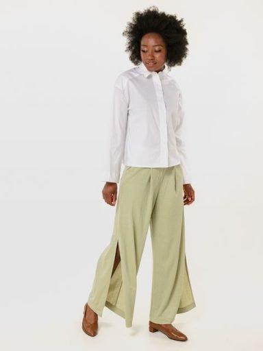 Szerokie spodnie w kolorze oliwkowym Katarina Ivanenko