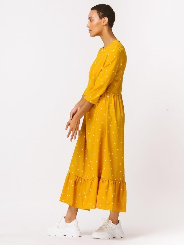 Żółta sukienka maxi luźna w kroju w grochy Love&Live (zdjęcie 4)