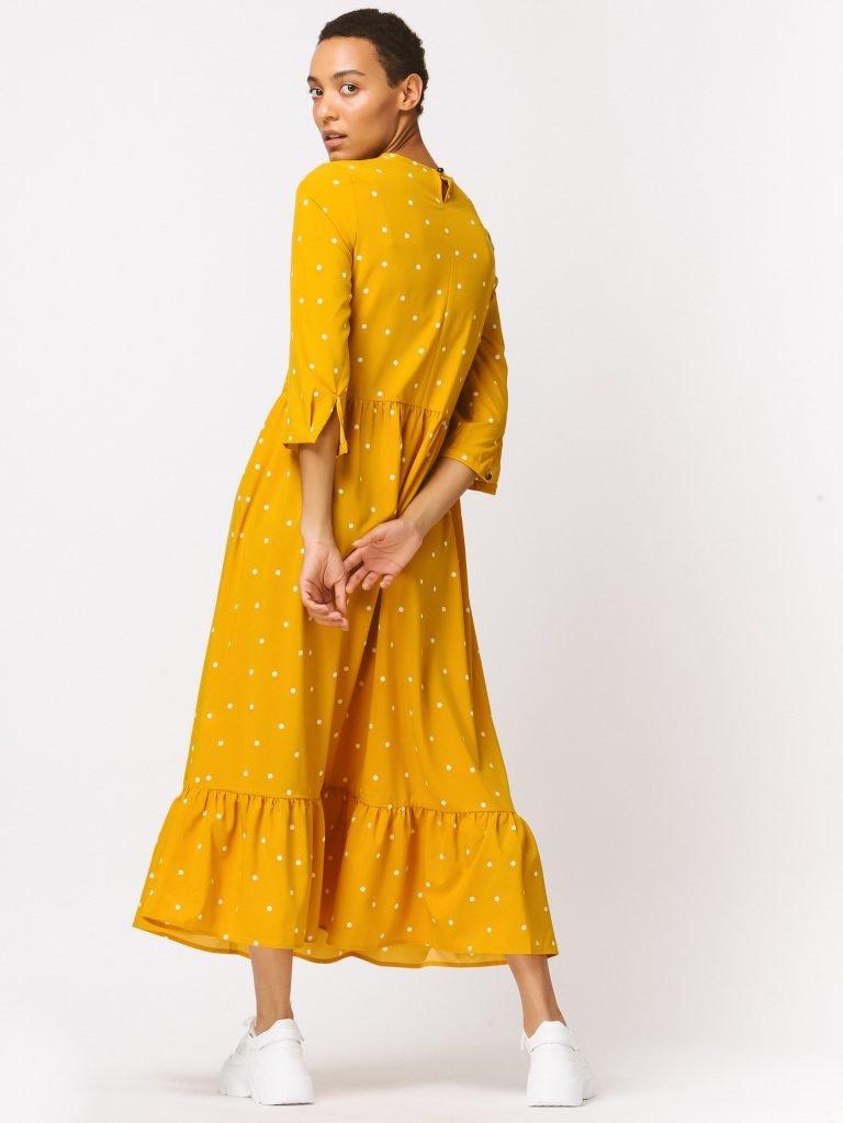Żółta sukienka maxi luźna w kroju w grochy Love&Live (zdjęcie 3)