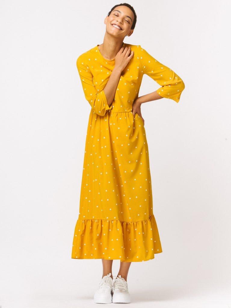 Żółta sukienka maxi luźna w kroju w grochy Love&Live (zdjęcie 2)