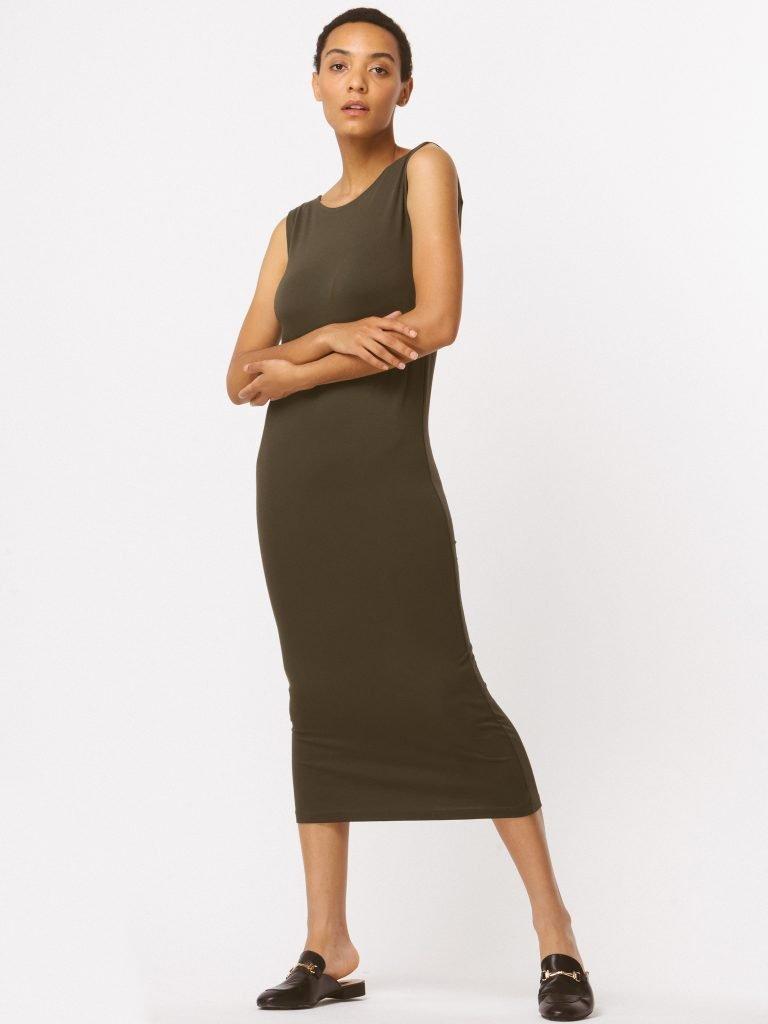 Sukienka khaki z wycięciem na plecach LOVE&LIVE (zdjęcie 3)
