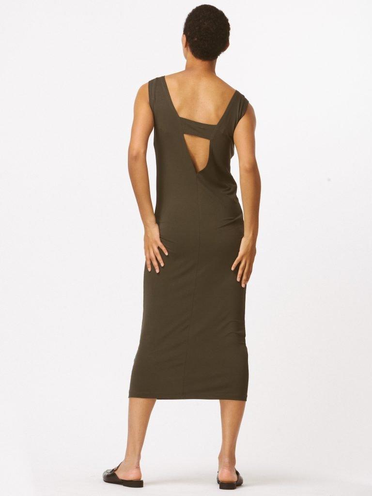 Sukienka khaki z wycięciem na plecach LOVE&LIVE