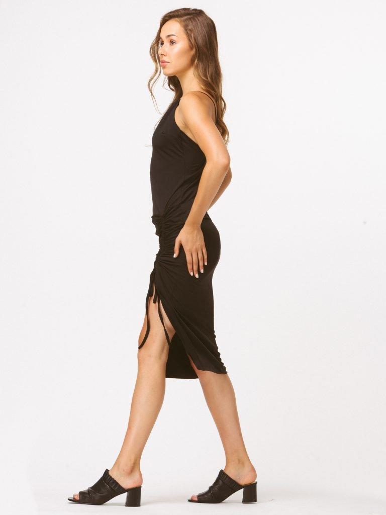 Czarna sukienka midi z drapowaniem Katarina Ivanenko (zdjęcie 2)
