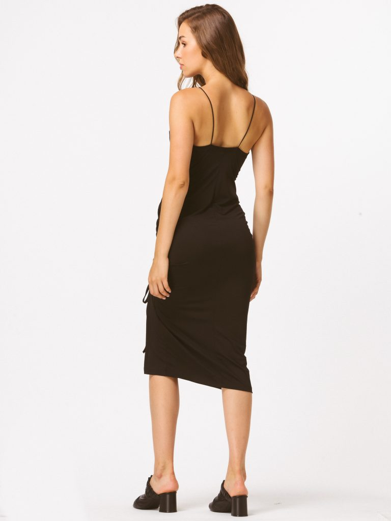 Czarna sukienka midi z drapowaniem Katarina Ivanenko (zdjęcie 3)