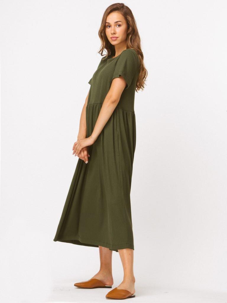 Sukienka khaki maxi luźna w kroju Katarina Ivanenko (zdjęcie 4)