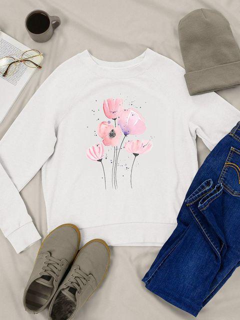 Bluza w kolorze białym Różowy mak Love&Live