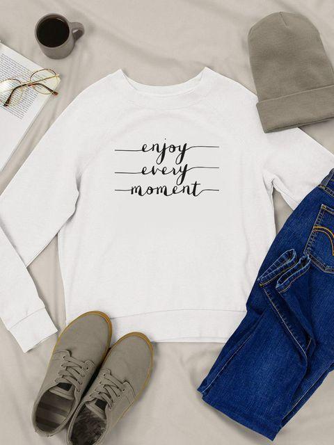 Bluza w kolorze białym Enjoy every moment Love&Live