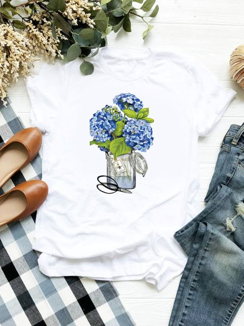 T-shirt biały Hortensja ZUZU