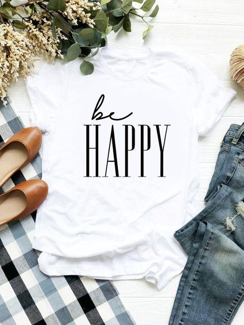 T-shirt biały Be Happy ZUZU
