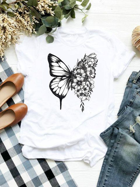 T-shirt biały Butterfly ZUZU