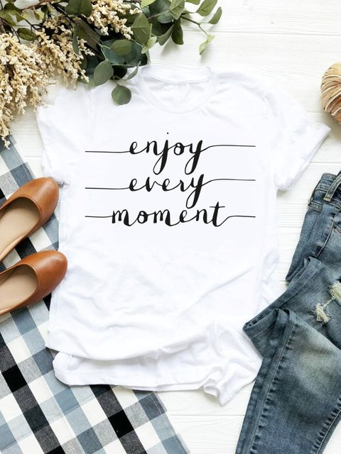 T-shirt biały Enjoy Every Moment ZUZU