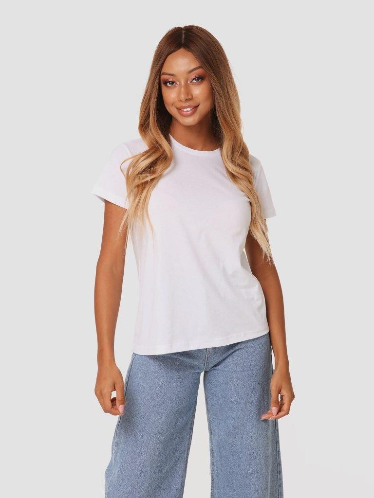 T-shirt biały z okrągłym dekoltem ZUZU (zdjęcie 2)