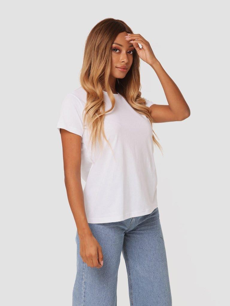T-shirt biały z okrągłym dekoltem ZUZU (zdjęcie 3)