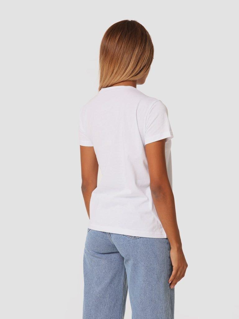T-shirt biały z okrągłym dekoltem ZUZU (zdjęcie 4)