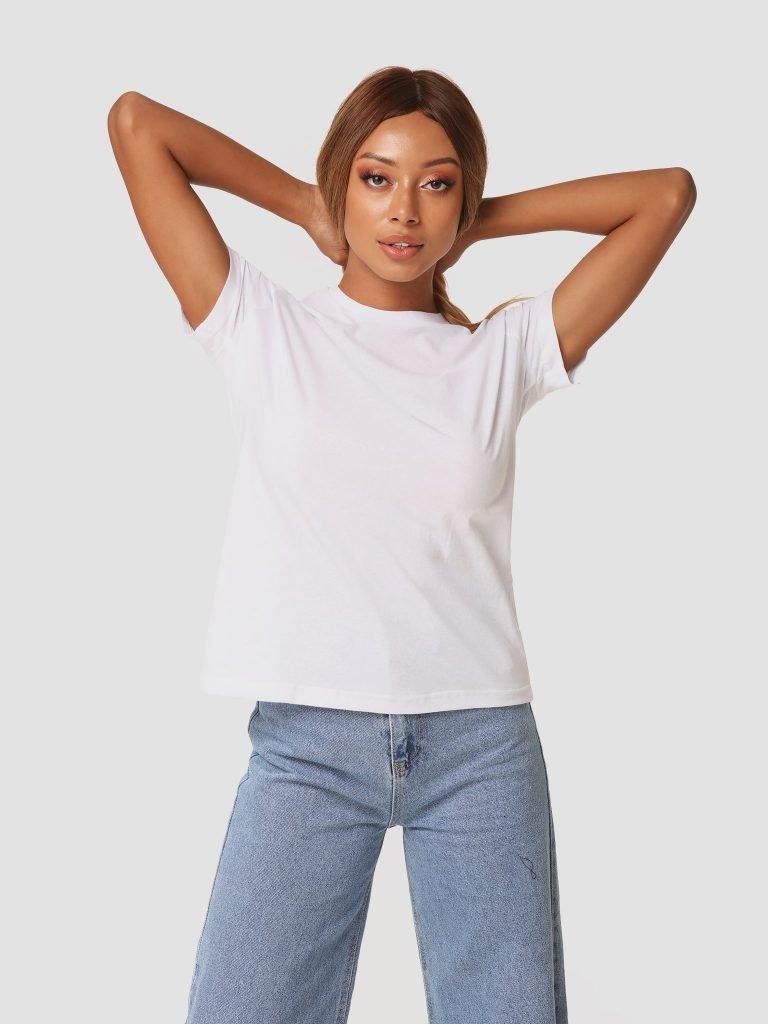 T-shirt biały z okrągłym dekoltem ZUZU