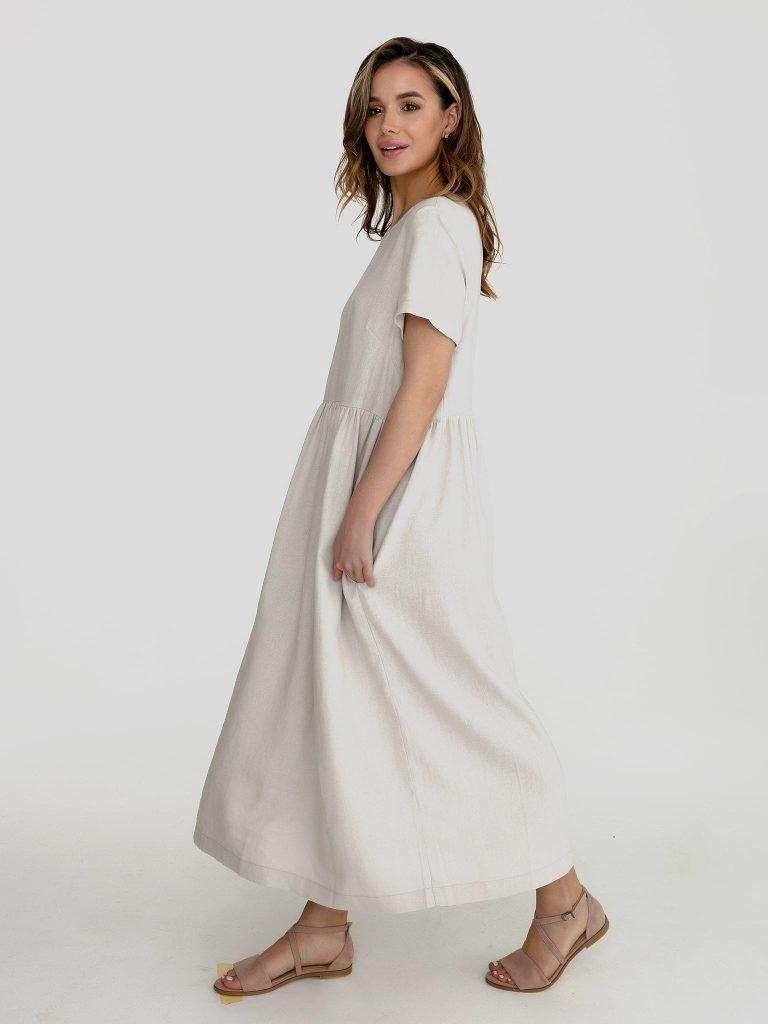 Lniana sukienka maxi w kolorze szaro-beżowym Katarina Ivanenko (zdjęcie 2)