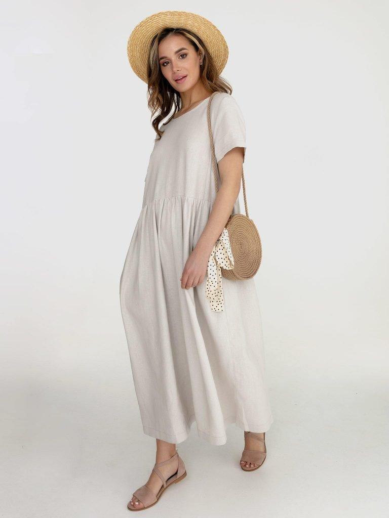 Lniana sukienka maxi w kolorze szaro-beżowym Katarina Ivanenko (zdjęcie 3)