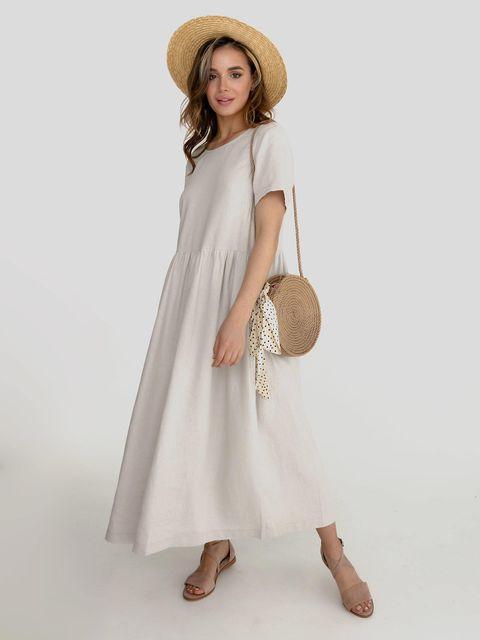 Lniana sukienka maxi w kolorze szaro-beżowym Katarina Ivanenko