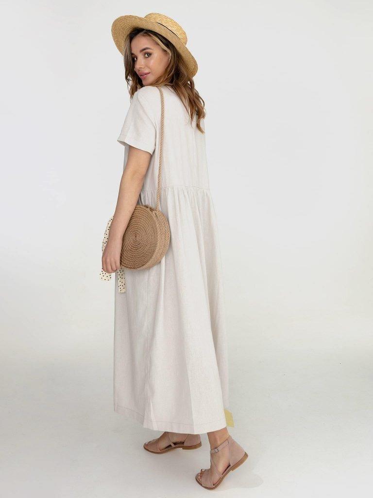 Lniana sukienka maxi w kolorze szaro-beżowym Katarina Ivanenko (zdjęcie 4)