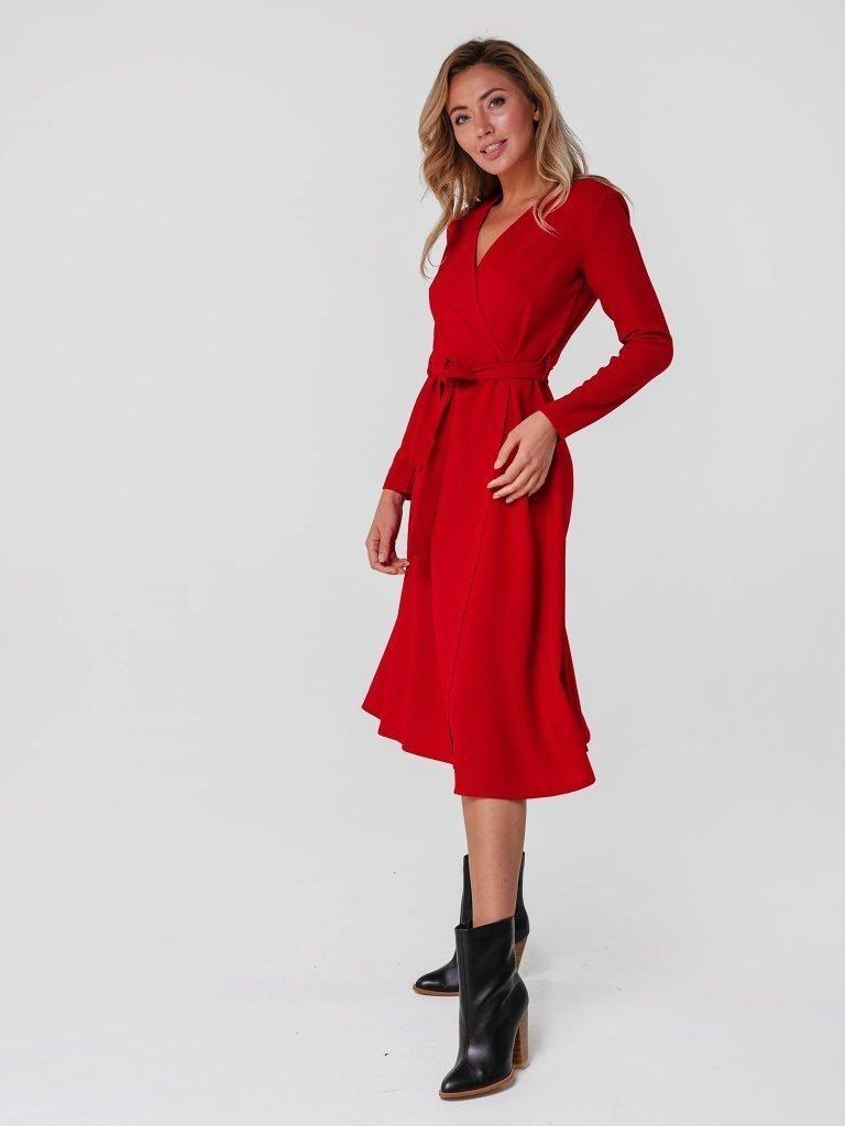 Czerwona sukienka midi kopertowa z paskiem Katarina Ivanenko (zdjęcie 2)