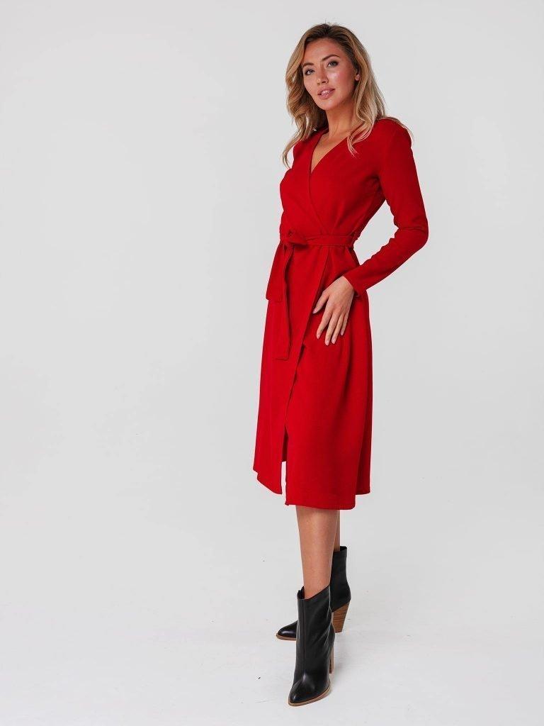 Czerwona sukienka midi kopertowa z paskiem Katarina Ivanenko (zdjęcie 3)
