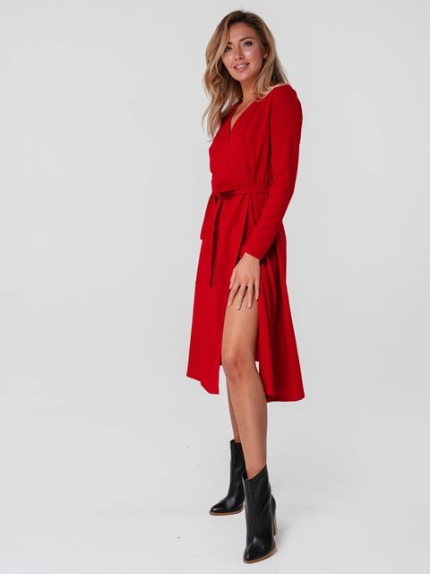 Czerwona sukienka midi kopertowa z paskiem Katarina Ivanenko