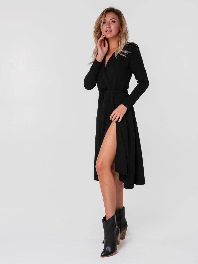 Czarna sukienka midi kopertowa z paskiem Katarina Ivanenko (zdjęcie 2)
