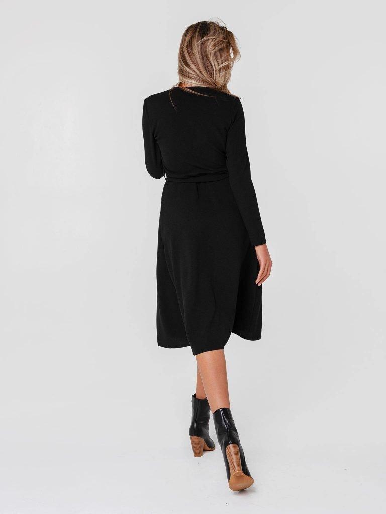 Czarna sukienka midi kopertowa z paskiem Katarina Ivanenko (zdjęcie 3)