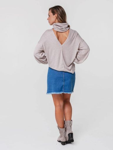 Sweter beżowy z wycięciem na plecach Katarina Ivanenko
